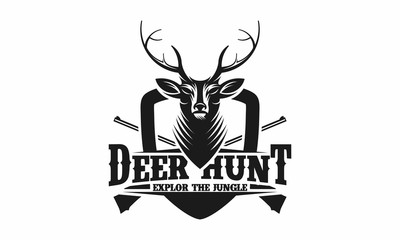 Deer Hunt Logo template, Elegant Deer Head logo designs vector - Vector