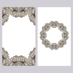 Yoga card template with floral frame pattern. For business card
