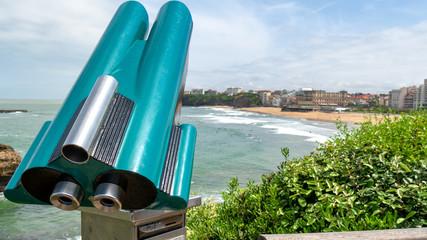 Binoculars, coin-operated, view of Biarritz beach, France