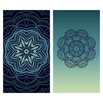 Yoga card template with mandala pattern. For business card, fitness center, meditation class. Vector illustration.