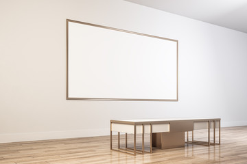 Modern museum with empty frame