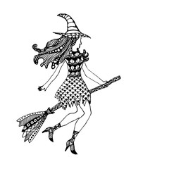 Hand drawn doodle Halloween witch. Black pen objects drawing. Design illustration for poster.