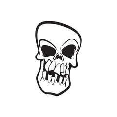 Cute skull line art. Isolated vector illustration.