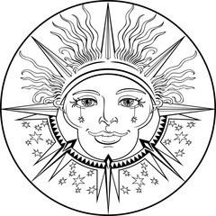 decorative pattern with sun and stars
