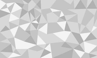 Abstract low poly background white and gray colors, geometric polygonal shapes