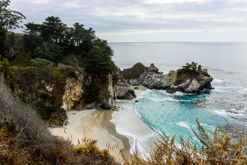 McWay Falls cove located in Big Sur highway road 1, California, USA.