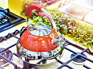 New kettle on gas stove in store