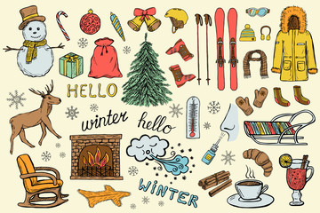 Set of hand drawn winter and christmas icons of clothes, gifts, New Year tree etc.. Doodle sketched design elements. Color illustration
