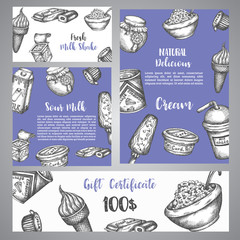 Dairy sweet Gift certificate with sketch Hand drawn design for menu, banner, card, dairy shop Vector illustration
