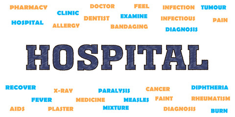 hospital Medical concept. Words and tags cloud.