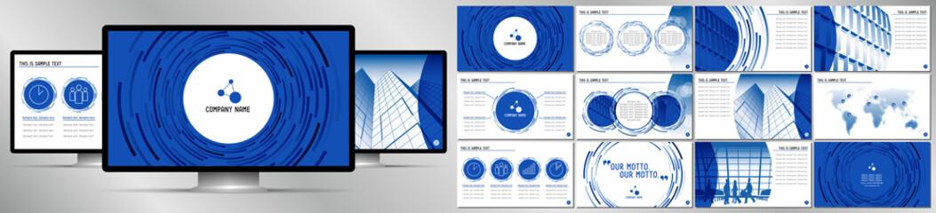 Modern blue business vector presentation template - EPS10 - hd format: 1920x1080 px.