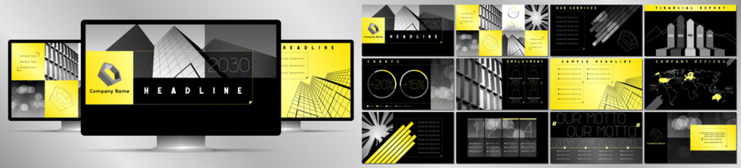 Modern black, grey and yellow business vector presentation template - EPS10 - hd format: 1920x1080 px.