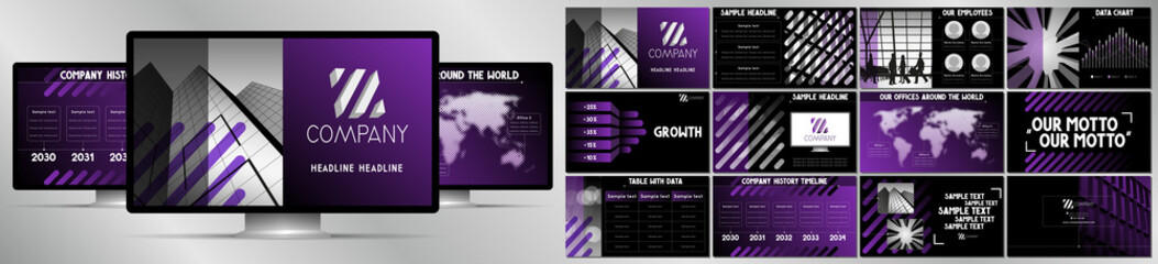 Modern violet, black and grey business vector presentation template - EPS10 - hd format: 1920x1080 px.