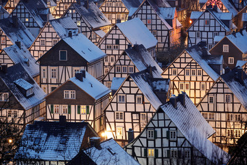 """Snow covers the roofs of the so-called """"Alter Flecken"""" (old spot), the historic core of downtown Freudenberg"""