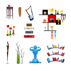 vector realistic set of decorations objects, icons furniture, decor, license plates books