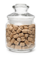 Jar of extruded oats bran pellets