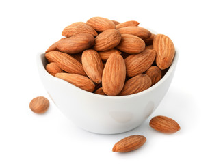 Ceramic bowl of almonds