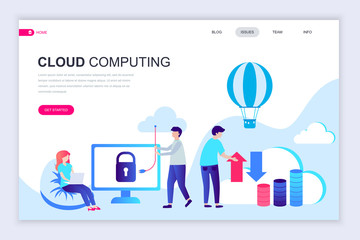 Modern flat web page design template of Cloud Technology decorated people character for website and mobile website development. Flat landing page template. Vector illustration.