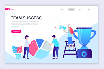 Modern flat web page design template of Team Success decorated people character for website and mobile website development. Flat landing page template. Vector illustration.