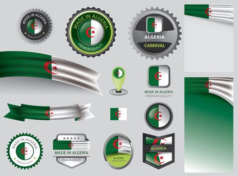 Made in Algeria seal, Algerian flag and color --Vector Art--