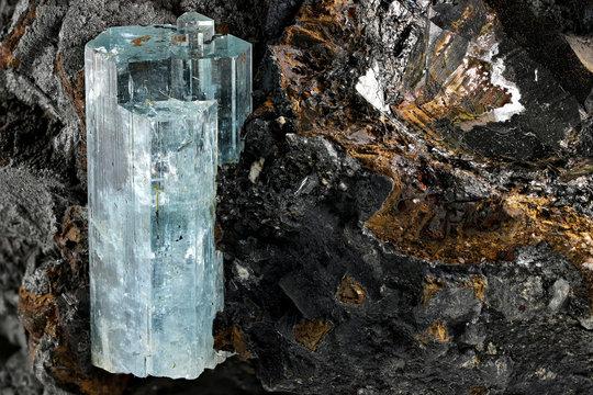 aquamarine crystal from Erongo, Namibia nestled in matrix