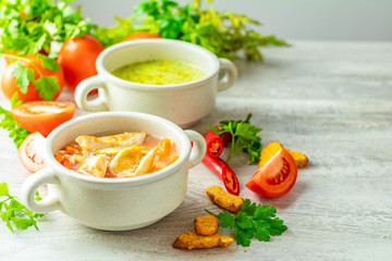 Concept of healthy vegetable and legume soups