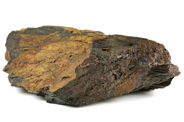 iron ore from Oued Zem, Morocco isolated on white background