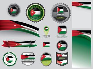 Made in Jordan seal, Jordanian flag and color --Vector Art--