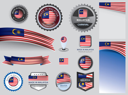 Made in Malaysia seal, Malaysian flag and color --Vector Art--