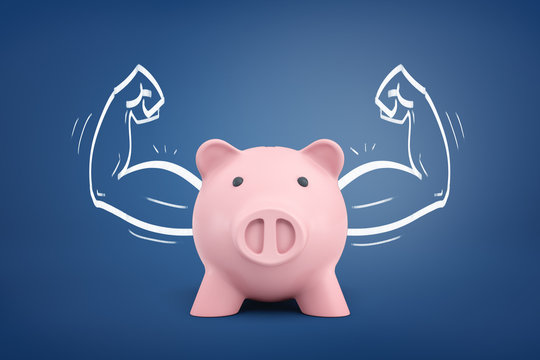 3d rendering of a piggy bank front view with strong arms drawn on both sides on a blue background.