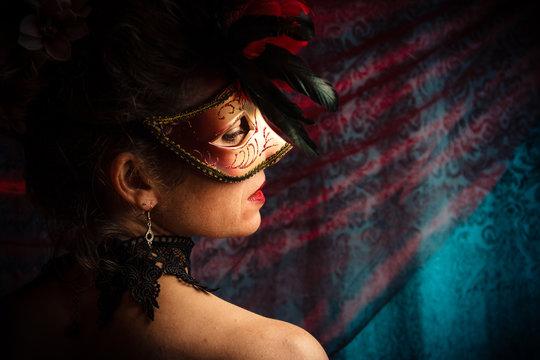 Masked Woman at a Masquerade Ball