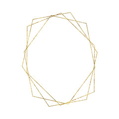 Gold geometrical triangular frame isolated on white background