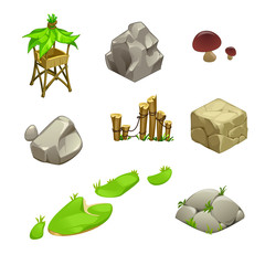 vector set of hut stones and mushrooms created by ancient people