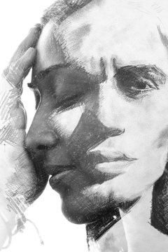 Paintography. Double exposure. Woman's profile portrait combined with hand made drawing of handsome man's face