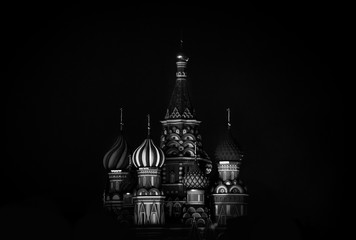 Saint Basil's Cathedral in Red Square in winter at night, Moscow, Russia.