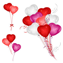 Set of red, white, pink and magenta heart-shaped balloons with ribbons. Vector illustrations for wedding, Valentine day or invitation cards decorative design.