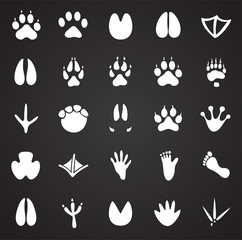 Animal foot prints icons set on black background for graphic and web design, Modern simple vector sign. Internet concept. Trendy symbol for website design web button or mobile app