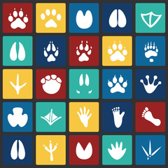 Animal foot prints icons set on color squares background for graphic and web design, Modern simple vector sign. Internet concept. Trendy symbol for website design web button or mobile app