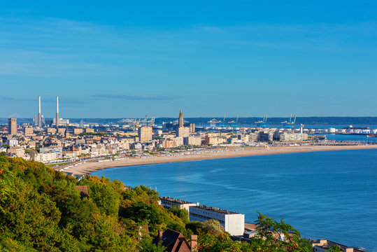 High angle view on Skyline, Coastline and Harbor of Le Havre Normandy France