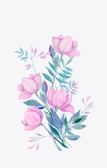 bouquet of fantasy purple flowers, watercolor illustration