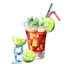 Glass of  Cuba Libre cocktail with lime, ice cubes and mint. Watercolor hand drawn illustration, isolated on white background