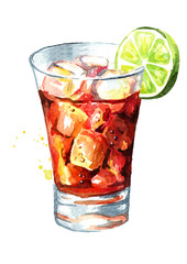 Glass of  Cuba Libre Drink with lime. Watercolor hand drawn illustration, isolated on white background