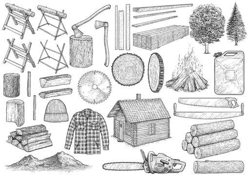 Lumberjack equipment collection illustration, drawing, engraving, ink, line art, vector