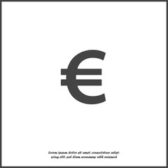 Vector image euro sign. Vector illustration euro icon on white isolated background. Layers grouped for easy editing illustration. For your design.