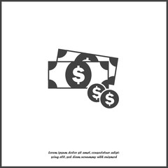 Cash  money icon on white isolated background. Layers grouped for easy editing illustration. For your design.