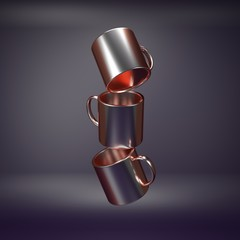 Art collection coffee cup 3d render from imagine anti gravity in dark chromium modern style