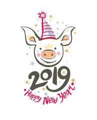 Postcard with smiling head funny pig in a holiday cap and 2019 Happy New Year. Vector illustration in sketch style. New 2019, Chinese year of the pig.