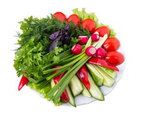 Mixed fresh vegetables.