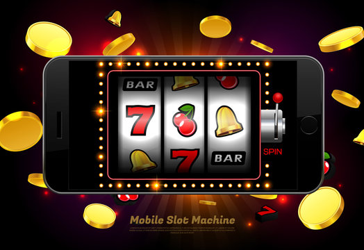 lucky slot machine casino on mobile phone with light background