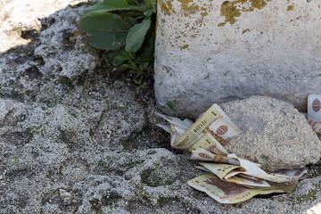 Money under a rock.